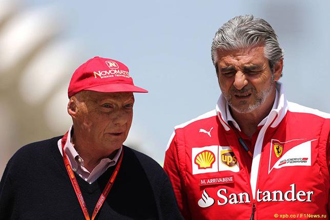 Ники Лауда и Маурицио Арривабене, руководитель команды Ferrari