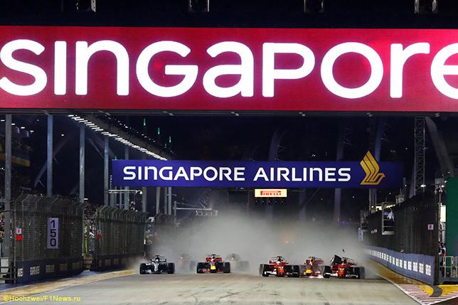 Авария на старте Гран При Сингапура