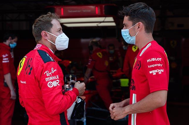 Себастьян Феттель и Шарль Леклер на тестах в Муджелло. Фото: пресс-служба Ferrari