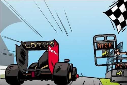 Автор карикатуры - Cirebox, штатный художник Lotus Renault GP