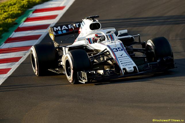 Сергей Сироткин за рулём Williams FW41 на тестах в Барселоне