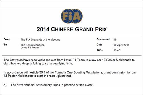 Решение стюардов Гран При Китая о допуске Пастора Мальдонадо на старт