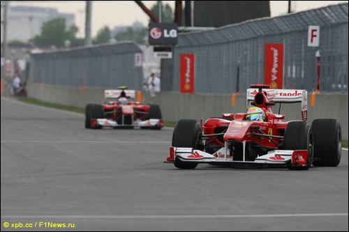 Пилоты Ferrari на трассе Гран При Канады 2010 года