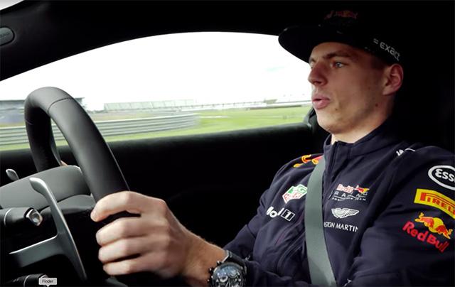 Макс Ферстаппен за рулём Aston Martin Vantage