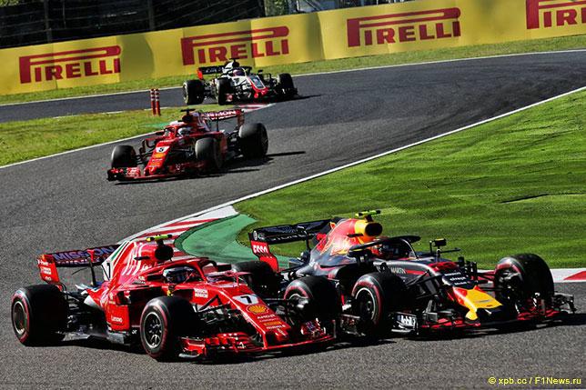 Макс Ферстаппен ведёт борьбу с Кими Райкконеном на трассе Гран При Японии