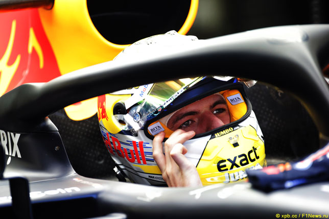 Макс Ферстаппен на Гран При Австрии 2019 года в специальном дизайне шлема Schuberth