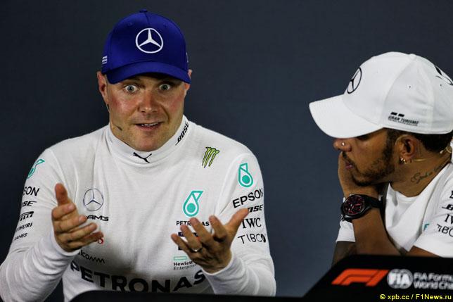 Валттери Боттас и Льюис Хэмилтон на пресс-конференции после финиша Гран При России