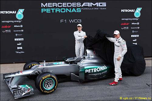 Михаэль Шумахер и Нико Росберг на презентации W03