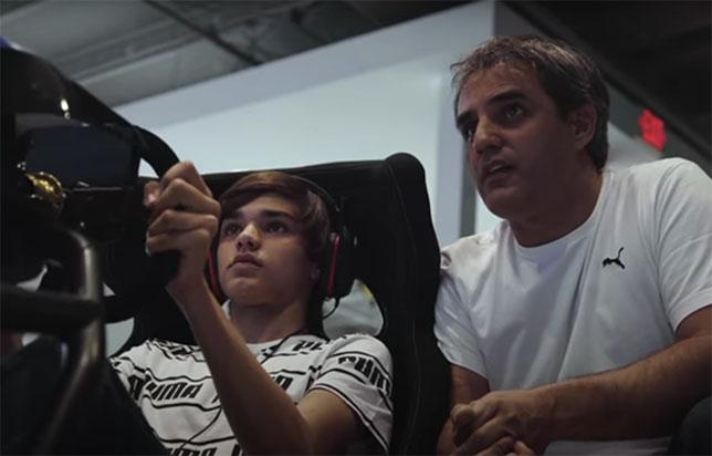 Хуан-Пабло Монтойя и его сын Себастьян, скриншот из видеоинтервью The Race