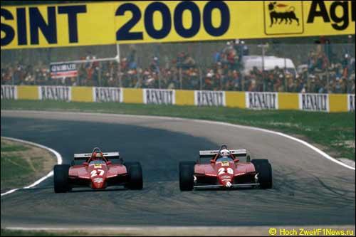 Ferrari Дидье Пирони и Жиля Вильнева - две из пяти машин, финишировавших в Сан-Марино в 1982 году