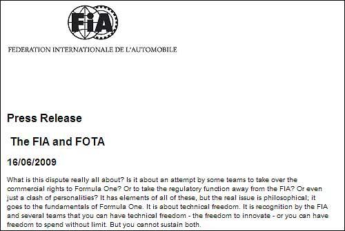 Заявление FIA