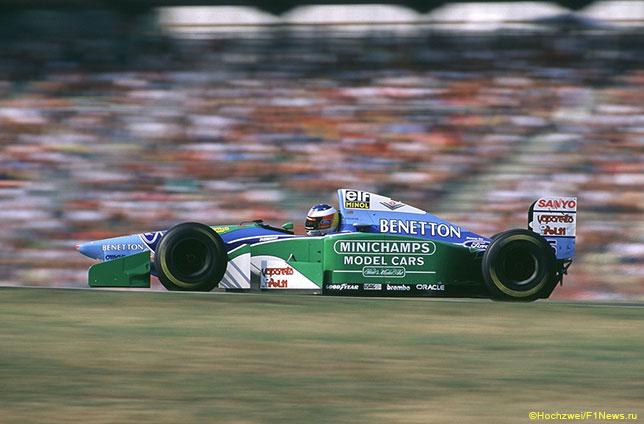 Михаэль Шумахер за рулём Benetton B194 в Хоккенхайме, 1994 год