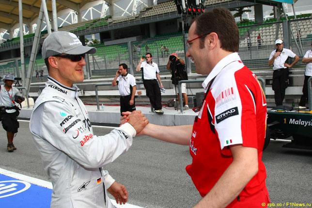 Михаэль Шумахер и Стефано Доменикали, 2010 год
