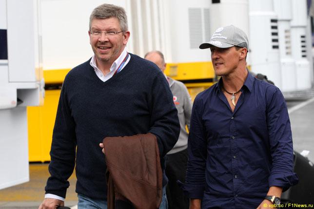 Росс Браун и Михаэль Шумахер, 2010 год