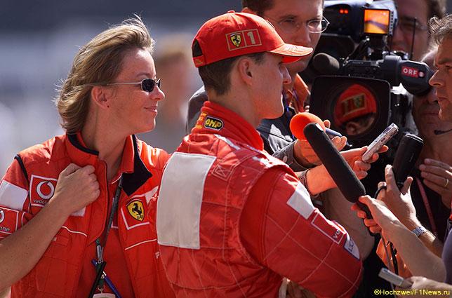 Сабине Кем и Михаэль Шумахер на Гран При США 2002 года