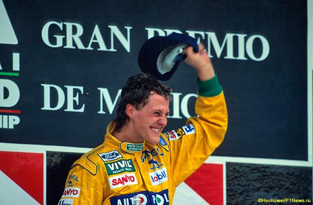Михаэль Шумахер на подиуме Гран При Мексики 1992 года