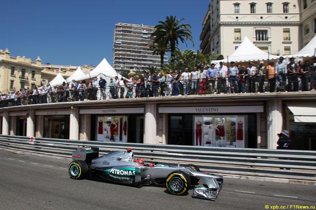 Михаэль Шумахер в квалификации Гран При Монако, 2012 год