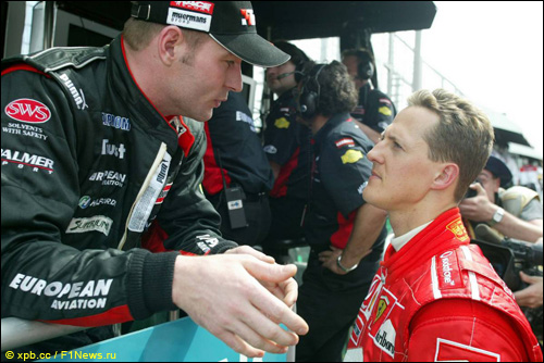 Йос Ферстаппен и Михаэль Шумахер на ГП Австралии'03