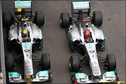 Нико Росберг и Михаэль Шумахер. Mercedes GP