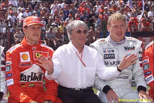 Михаэль Шумахер, Берни Экклстоун и Мика Хаккинен, 2000 год