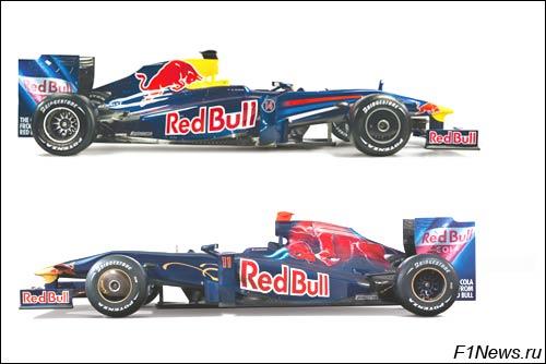 Коллаж из студийных фотографий Red Bull RB5 и Toro Rosso STR4
