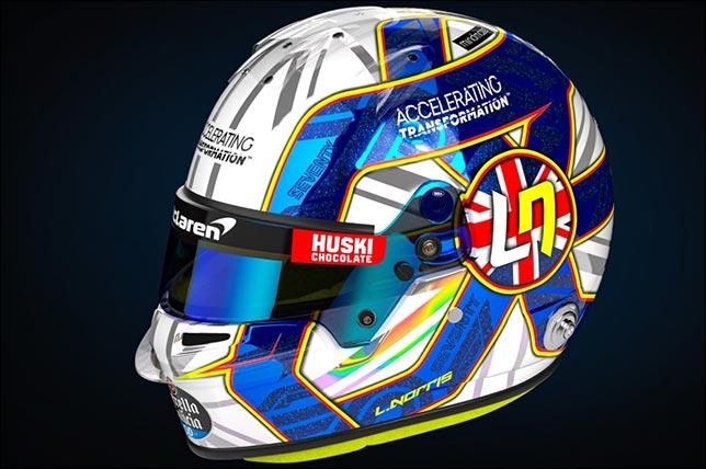 Раскраска шлема Ландо Норриса для Гран При 70-летия