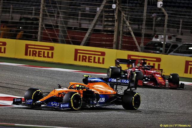 Ландо Норрис на трассе Гран При Бахрейна