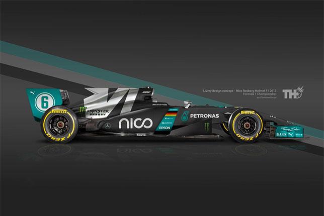 Так могла бы выглядеть Mercedes Нико Росберга с точки зрения британского дизайнера Тимо Холмса