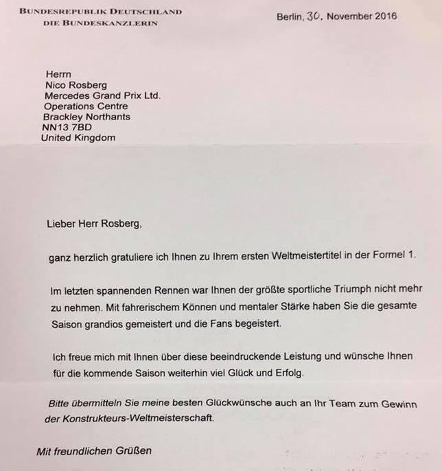 Поздравительное письмо Ангелы Меркель Нико Росбергу