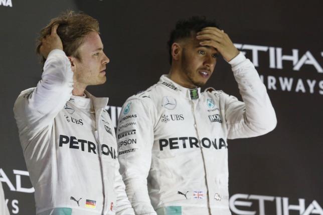 Нико Росбер и Льюис Хэмилтон на Гран При Абу-Даби 2016 года