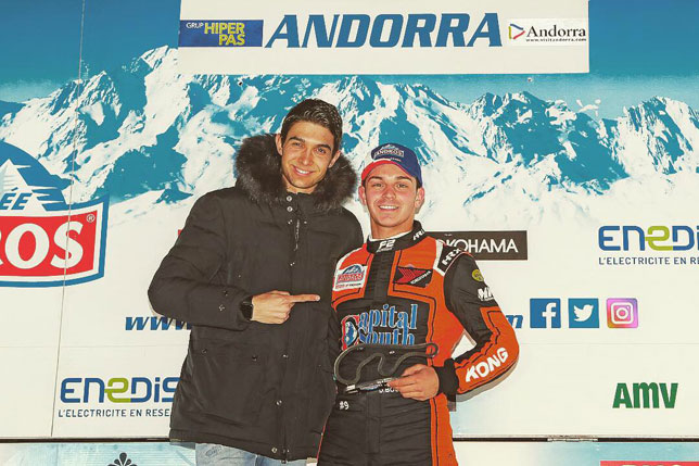Эстебан Окон с победителем гонки Дорианом Бокколаччи