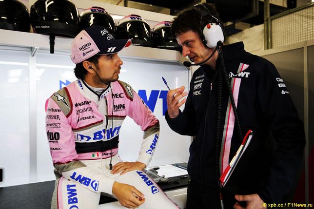 Серхио Перес с инженером