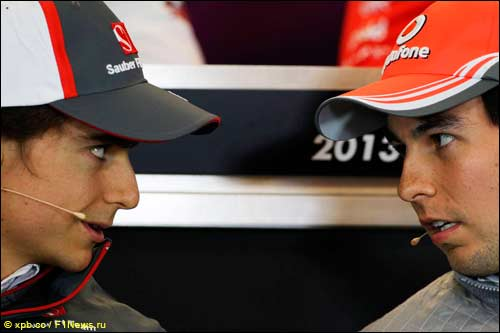 Эстебан Гутьеррес и Серхио Перес на пресс-конференции FIA