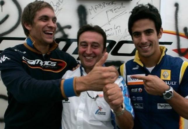 Виталий Петров, Адриан Кампос и Лукас ди Грасси, напарник российского гонщика в 2008 году, фото из Instagram В.Петрова
