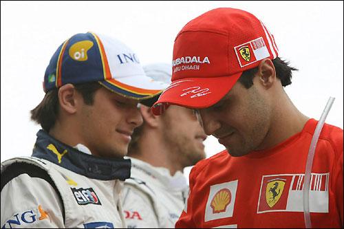 Нельсон Пике и Фелипе Масса во время Гран При Бразилии