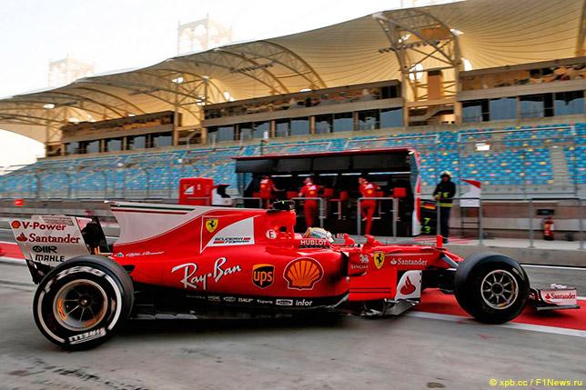 Себастьян Феттель на тестах шин Pirelli в Бахрейне