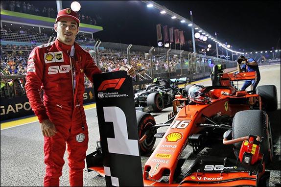 Шарль Леклер выиграл квалификацию в Сингапуре, завоевав пятый поул в сезоне