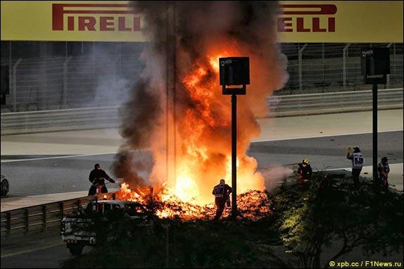 Пожар на месте аварии Романа Грожана