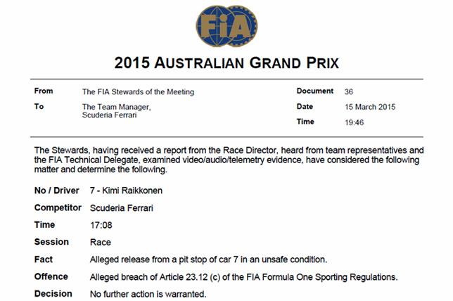 Решение стюардов по поводу действий команды Ferrari
