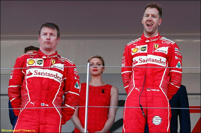 Кими Райкконен и Себастьян Феттель на подиуме Гран При Монако