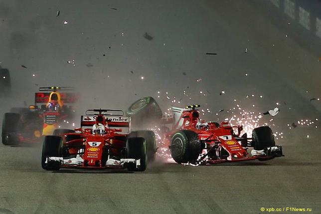Гран При Сингапура. Столкновение между гонщиками Ferrari