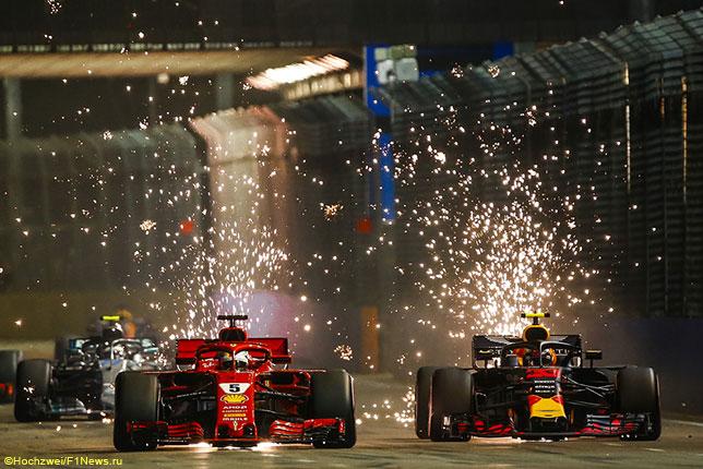 Себастьян Феттель ведёт борьбу с Максом Ферстаппеном на первом круге Гран При Сингапура