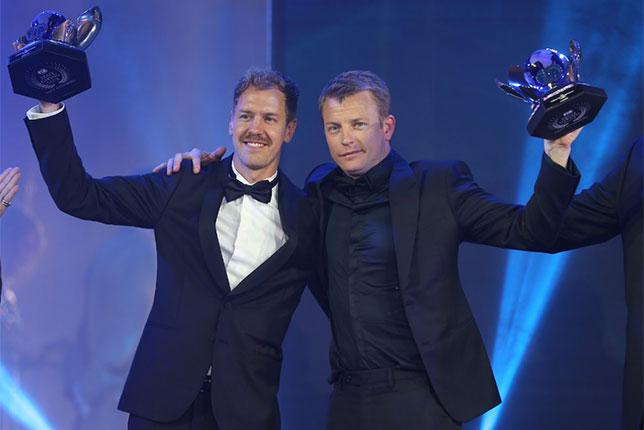 Кими Райкконен и Себастьян Феттель на церемонии награждения FIA в Санкт-Петербурге