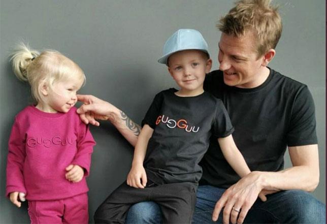 Кими Райкконен с сыном Робином и дочкой Рианной