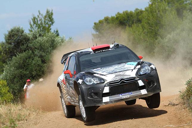 Кими Райкконен за рулём Citroen DS3 WRC на трассе Rally of Greece, 2011 год