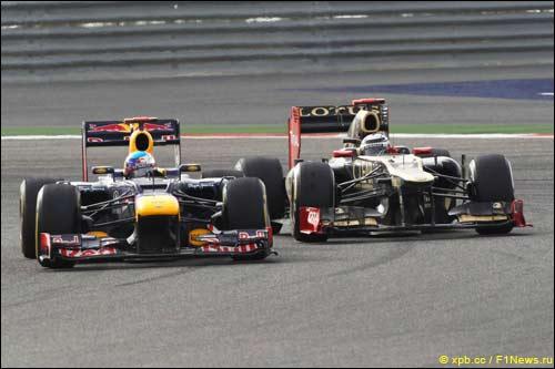 Борьба Себастьяна Феттеля и Кими Райкконена за первое место в Гран При Бахрейна