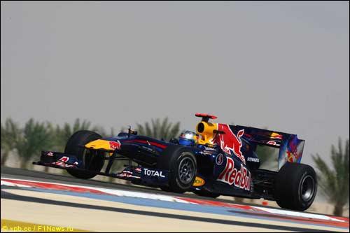 Себастьян Феттель на трассе Гран При Бахрейна