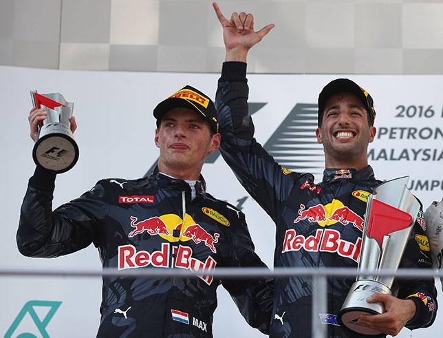 Даниэль Риккардо и Макс Ферстаппен после победного дубля в Малайзии