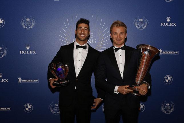 Даниэль Риккардо и Нико Росберг на гала-церемонии FIA в Вене