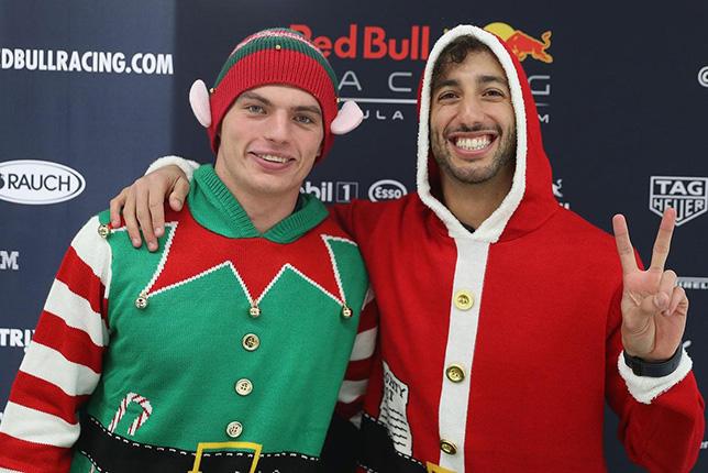 Макс Ферстаппен и Даниэль Риккардо на базе Red Bull Racing в Милтон-Кинсе